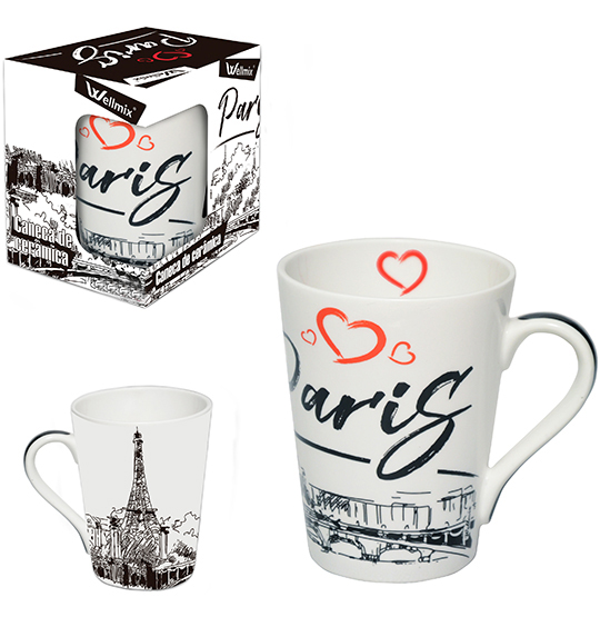 CANECA DE PORCELANA CONICA PARIS 340ML NA CAIXA WX