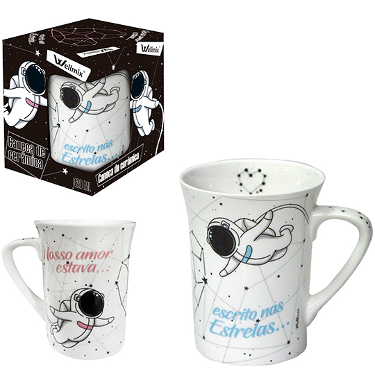 CANECA DE PORCELANA MUDDY LOVE SPACE 320ML NA CAIXA WX WELL HOME