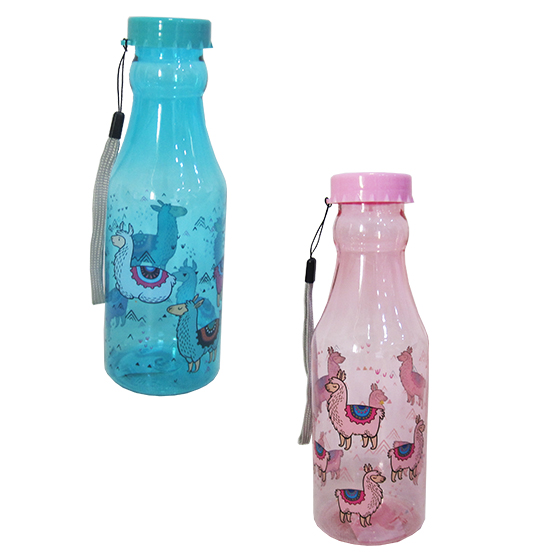 GARRAFA RETRO DE PLASTICO PET LHAMA COM TAMPA DE ROSCA COLORS 500ML