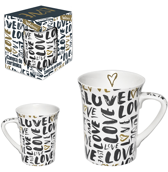 CANECA DE PORCELANA MUDDY LOVE 320ML NA CAIXA WELL HOME