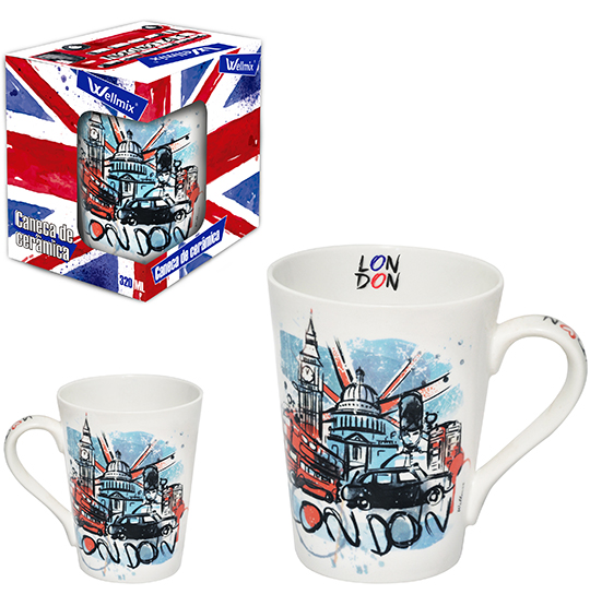 CANECA DE PORCELANA CONICA LONDON 340ML NA CAIXA