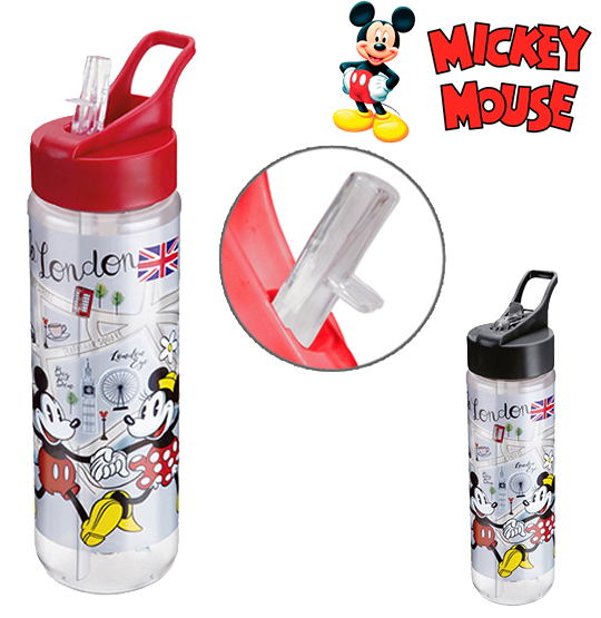 GARRAFA / SQUEEZE DE PLASTICO PET MICKEY LONDON SILK COM TAMPA FLIP TOP COLORS 700ML