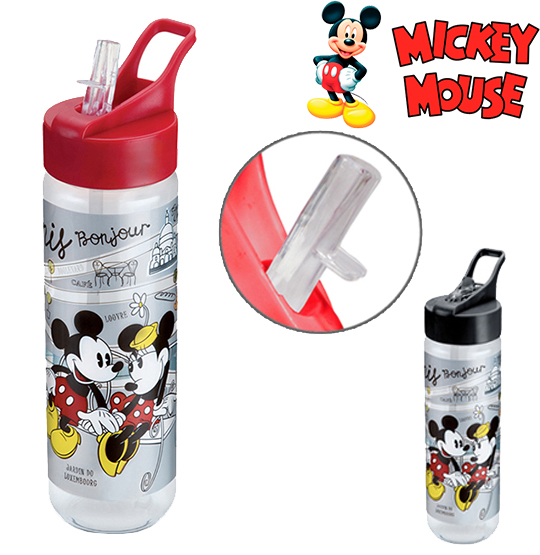 GARRAFA / SQUEEZE DE PLASTICO PET MICKEY PARIS SILK COM TAMPA FLIP TOP COLORS 700ML