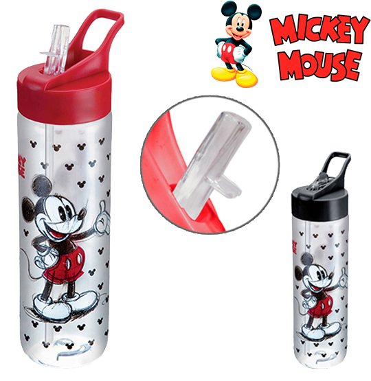 GARRAFA / SQUEEZE DE PLASTICO PET MICKEY MOUSE SILK COM TAMPA FLIP TOP COLORS 700ML