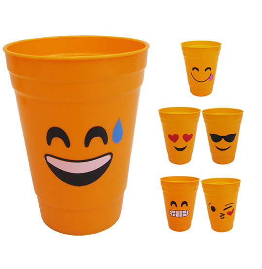 COPO DE PLASTICO EMOTICONS 450ML