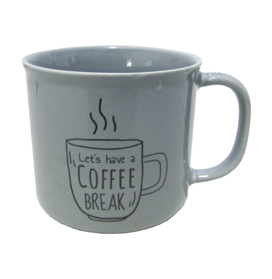 CANECA DE PORCELANA MASTER COFFEE BREAK / TIME CINZA 280ML