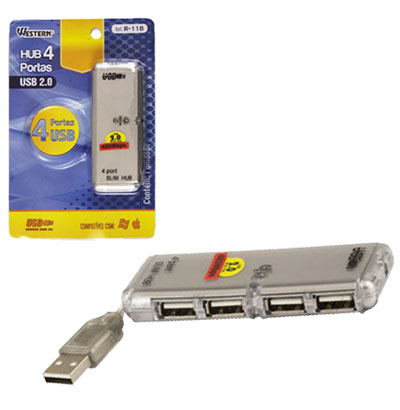 HUB USB 2.0 COM 4 PORTAS INTEGRADAS