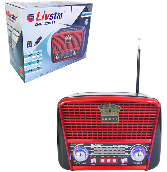 RADIO RECARREGAVEL 3W BIVOLT BLUETOOTH /USB/FM/AM/SW/TF