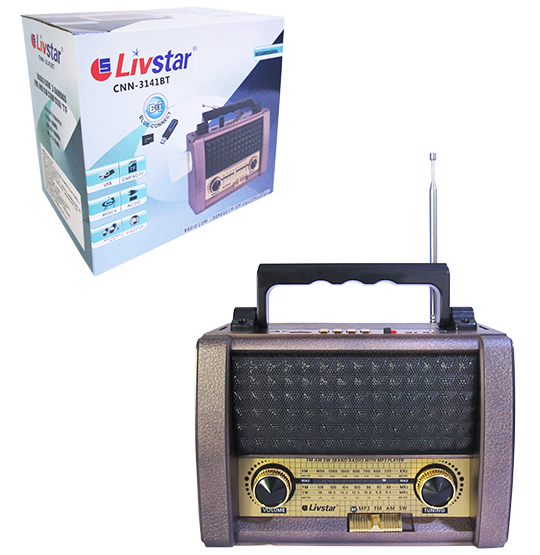RADIO RECARREGAVEL 3W BIVOLT COM LANTERNA BLUETOOTH USB/TF/FM/AM/SW