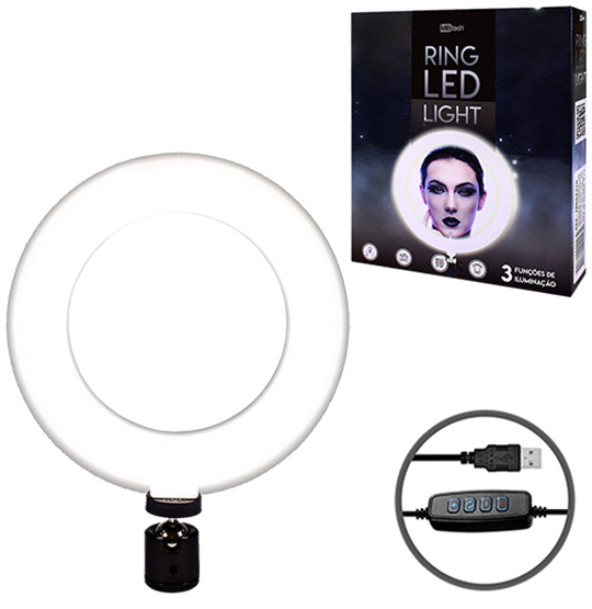 REFLETOR DE LED RING LIGHT 3 FUNCOES 5W USB + CONTROLE PARA TRIPE 16CM DE Ø