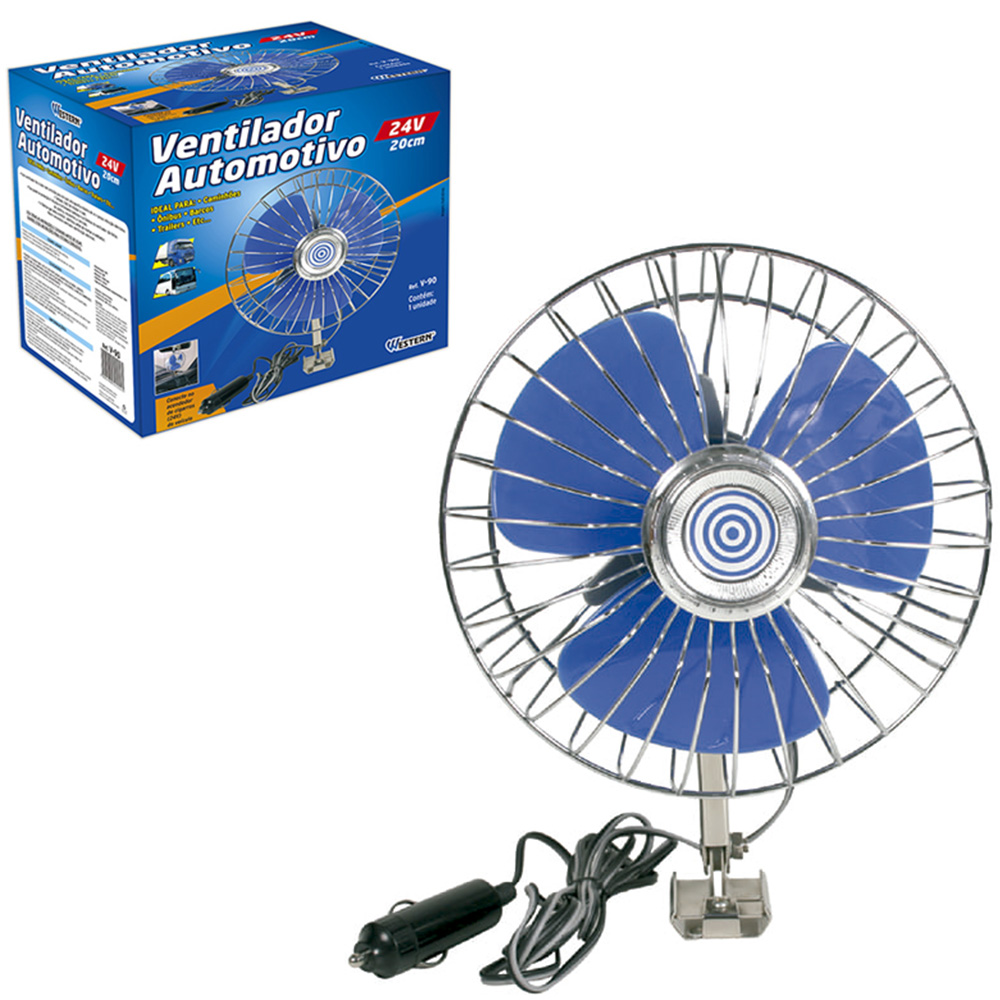 VENTILADOR AUTOMOTIVO COM BASE DE METAL 8'' 20CM DE Ø 24V