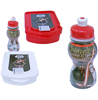 KIT RECREIO STAR WARS COM SANDUICHEIRA + GARRAFA/SQUEEZE 250ML