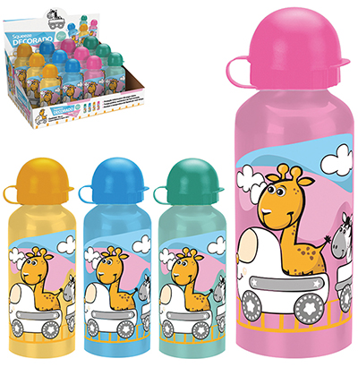 GARRAFA / SQUEEZE DE ALUMINIO DECORADA BABY TRAIN 400ML