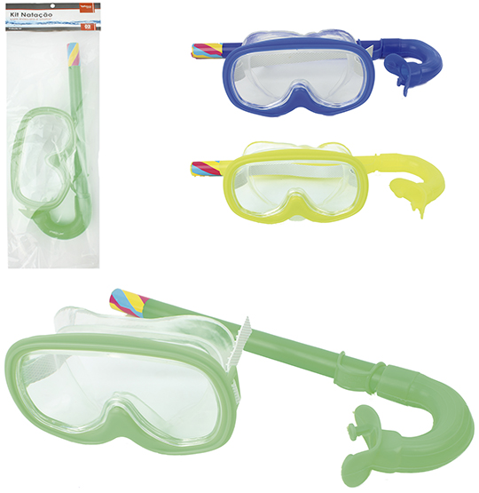 KIT MERGULHO COM OCULOS/MASCARA/ SNORKEL COLORS SUMMER FUN