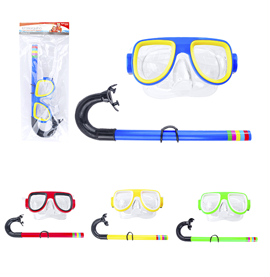 KIT NATACAO COM OCULOS/MASCARA DE MERGULHO + SNORKEL COLORS SUMMER FUN