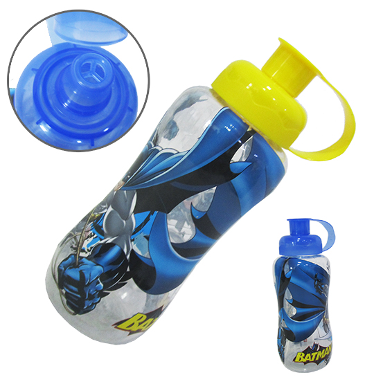 GARRAFA / SQUEEZE DE PLASTICO PET BATMAN COM TAMPA COLORS 600ML