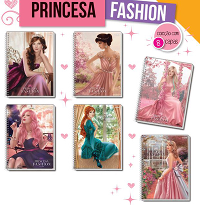 CADERNO PRINCESA FASHION UNIVERSITÁRIO CAPA DURA (10X1) 200 FOLHA