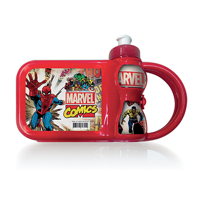 KIT LANCHEIRA MARVEL COM GARRAFA SQUEEZE 250ML