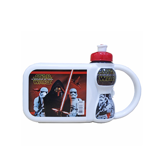 KIT LANCHEIRA STAR WARS COM GARRAFA SQUEEZE 250ML