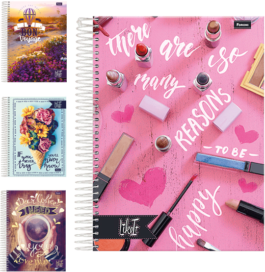 CADERNO LIKE IT UNIVERSITARIO FEMININO (10X1) 200 FOLHAS