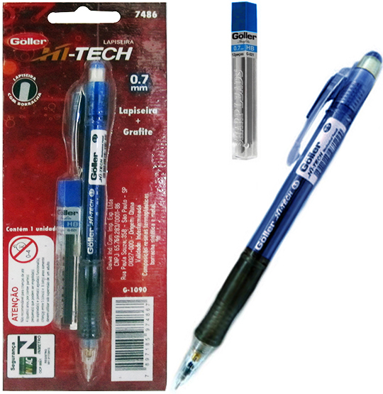 LAPISEIRA HI-TECH 0.7MM COM 1 TUBO DE GRAFITE CARTELA