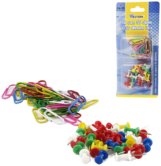KIT COM 35 CLIPS + 35 ALFINETES TACA COLORS NA CARTELA