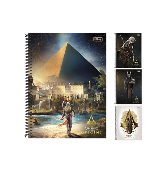 CADERNO ASSASSINS CREED ORIGINS UNIVERSITARIO (1X1) 96 FOLHAS