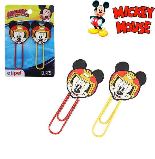 CLIPS GRANDE COLORS KIT COM 2 PECAS 9,5CM MICKEY NA CARTELA