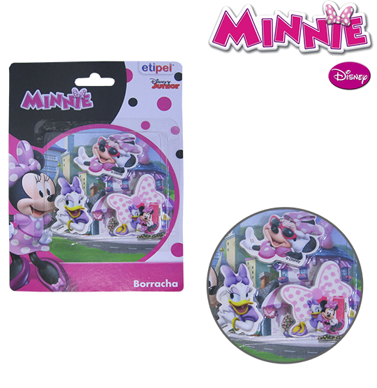 BORRACHA ESCOLAR KIT COM 3 PECAS MINNIE NA CARTELA