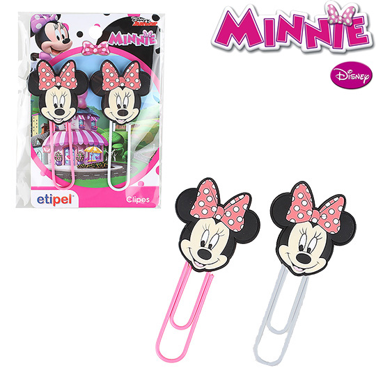 CLIPS GRANDE COLORS KIT COM 2 PECAS 9,5CM MINNIE NA CARTELA