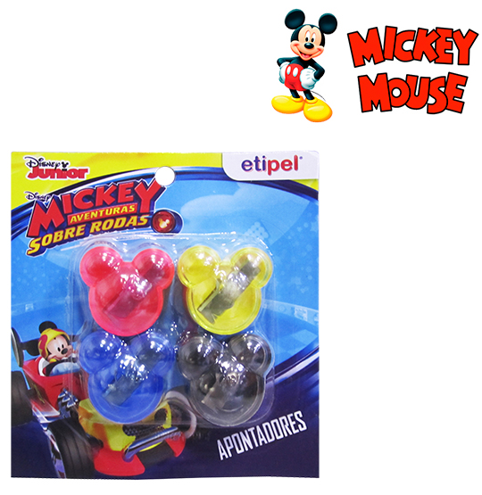 APONTADOR COM DEPOSITO COLORS MICKEY KIT COM 4 PECAS NA CARTELA