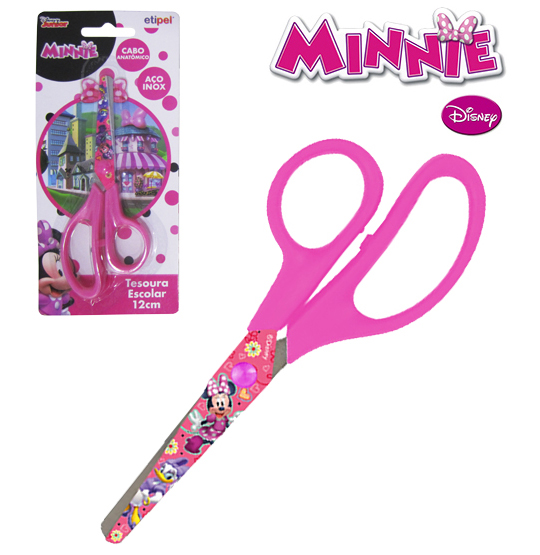 TESOURA ESCOLAR 5'' DE INOX MINNIE  NA CARTELA