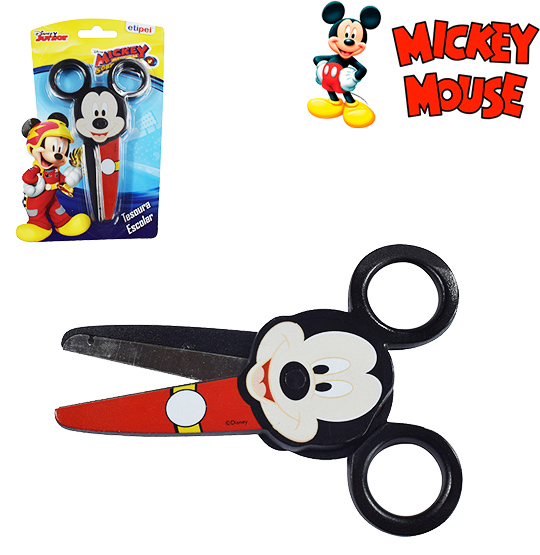 TESOURA ESCOLAR DE INOX MICKEY 5'' NA CARTELA