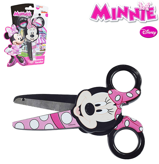 TESOURA ESCOLAR DE INOX MINNIE 5'' NA CARTELA