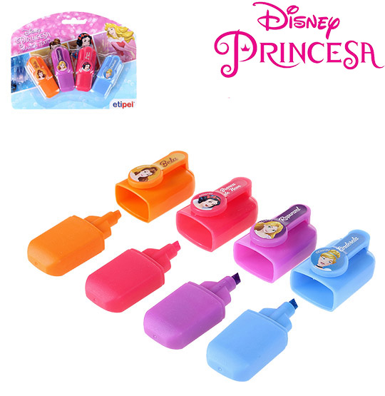 MARCA TEXTO MINI INFANTIL COLORS KIT COM 4 PECAS PRINCESAS NA CARTELA
