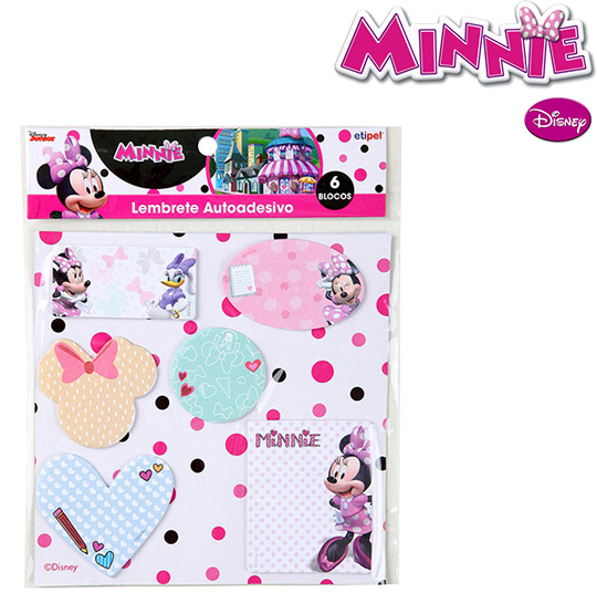 BLOCO AUTOADESIVO / STICKER PARA RECADO SORTIDAS COM 120 FOLHAS COLORS MINNIE