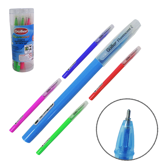 CANETA ESFEROGRAFICA GEL FLUORESCENT COLORS KIT COM 12 PECAS