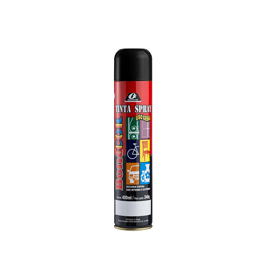 TINTA SPRAY PRETO BRILHANTE BONDCOR 400ML 240G