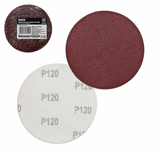 DISCO DE LIXA COM BASE VELCRO 115MM 4,5'' GRAO 120 KIT COM 10 PECAS