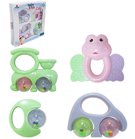 KIT CHOCALHO BABY FUN SORTIDOS COLORS