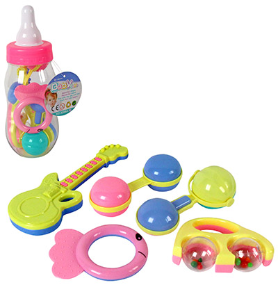 CHOCALHO / MORDEDOR BABY FUN COLORS KIT COM 5 PECAS NA MAMADEIRA