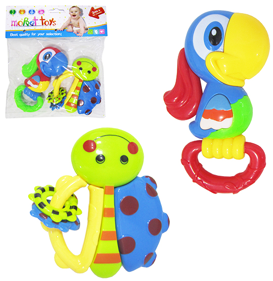 CHOCALHO MOPPET TOYS SORTIDOS COLORS KIT COM 2 PECAS