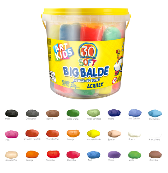 MASSINHA DE MODELAR SOFT BIG BALDE COM 30 UNIDADES COLORS 1,5KG