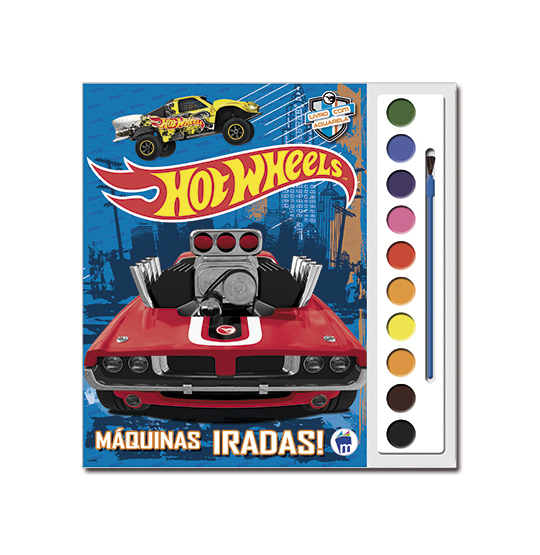 LIVRO AQUARELA HOT WHEELS COM 10 CORES E PINCEL 28X27CM