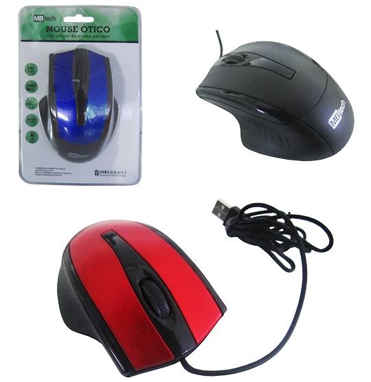 MOUSE OPTICO COM FIO USB COLORS