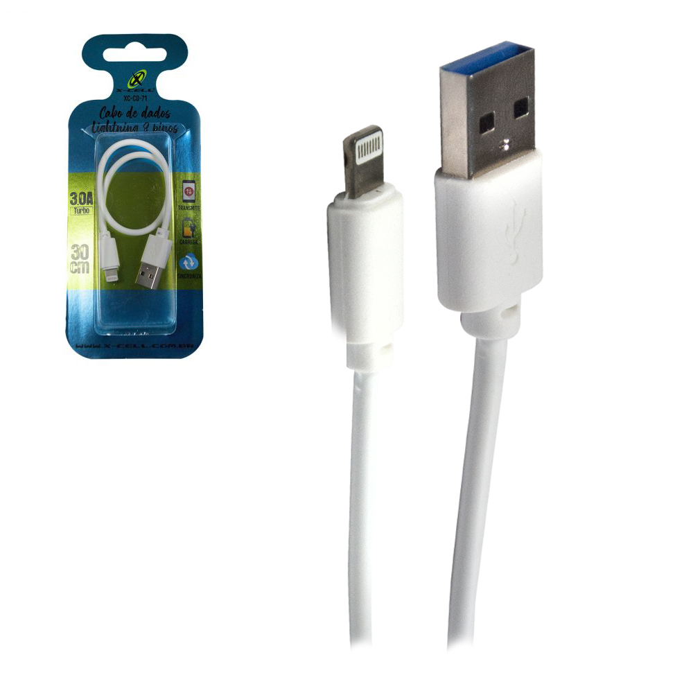 CABO PARA CELULAR TURBO USB X IP5/6/7/8/X 3,0A X-CELL 30CM