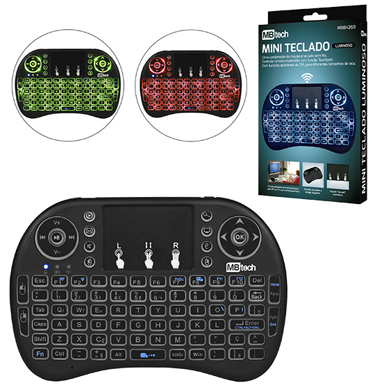 MINI TECLADO WIRELESS LUMINOSO PARA PCS/XBOX/PS3/TV COM CARREGADOR
