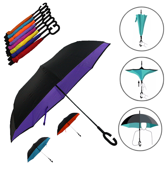 GUARDA CHUVA INVERTIDO MANUAL COLORS COM CABO C 120CM DE Ø