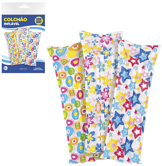 COLCHAO INFLAVEL ESTAMPADO COLORS 183X69CM