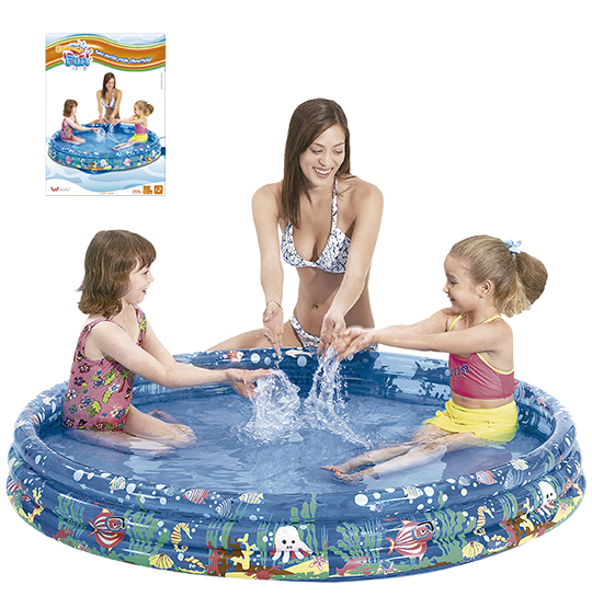 PISCINA INFLAVEL 3 ANEIS TRANSLUCIDA DECORADA 253L 122X25CM SUMMER FUN